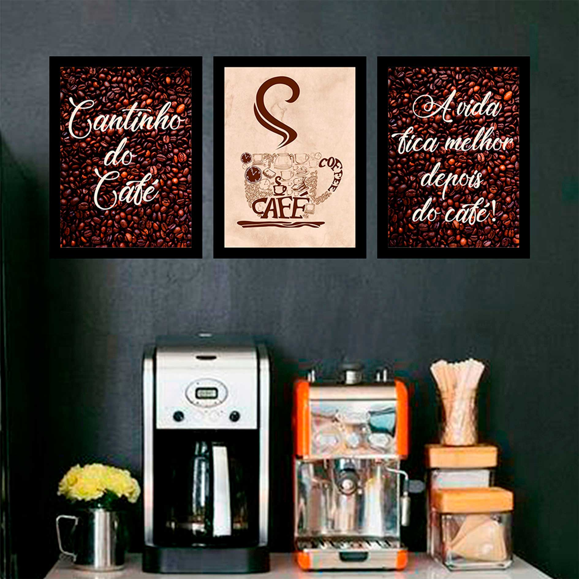 Kit 3 Quadros Decorativos Cantinho Do Café Com Moldura