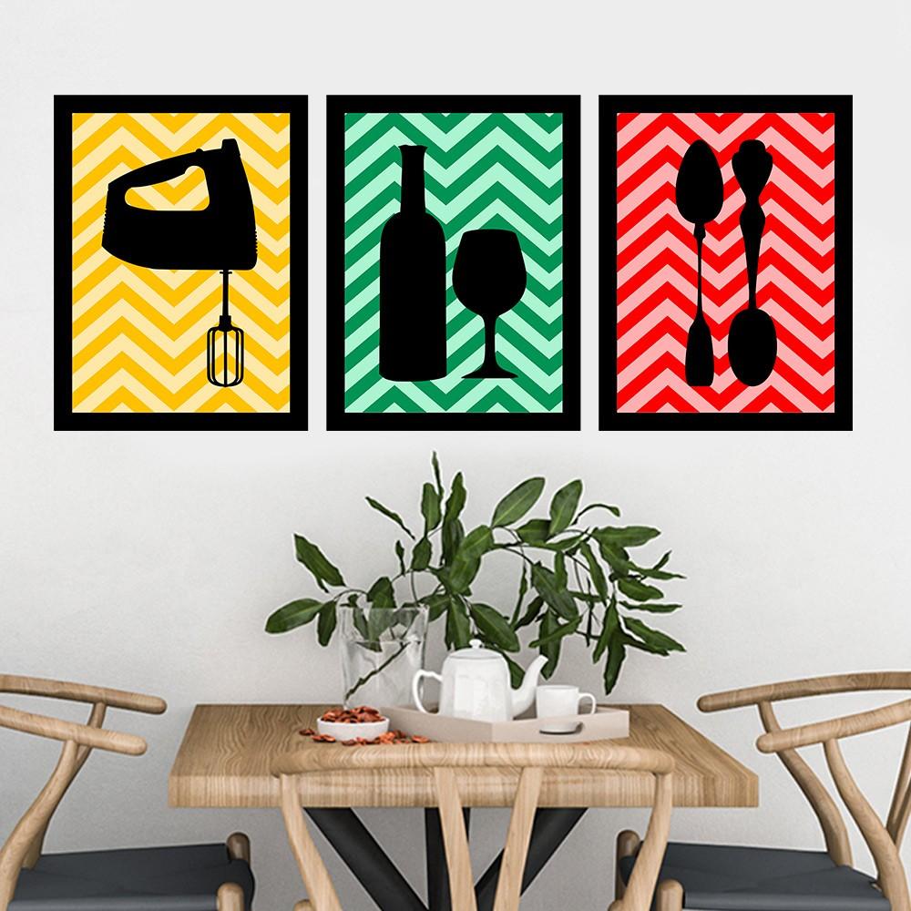 Kit 3 Quadros Decorativos Cozinha Colorida