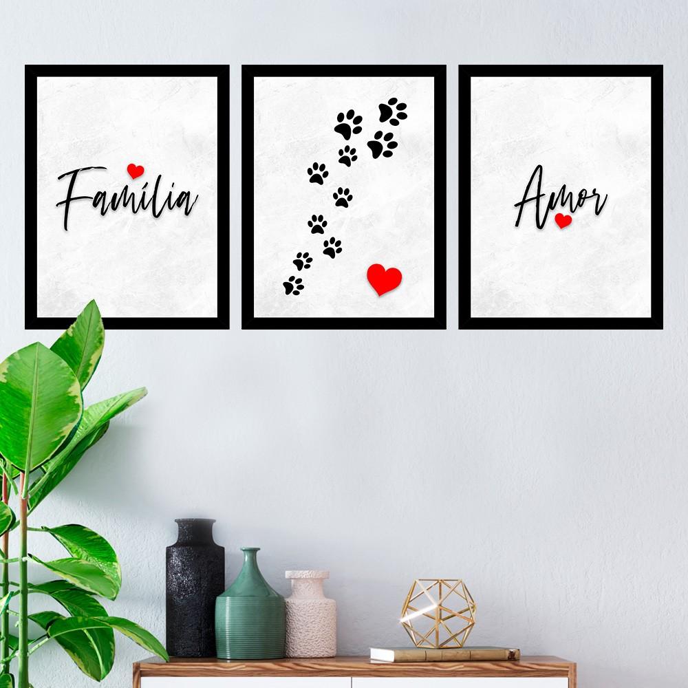 Kit 3 Quadros Decorativos Família/Amor-Pet