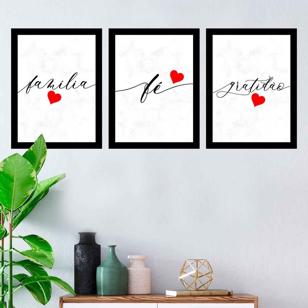 Kit 3 Quadros Decorativos Família/ Fé/ Gratidão