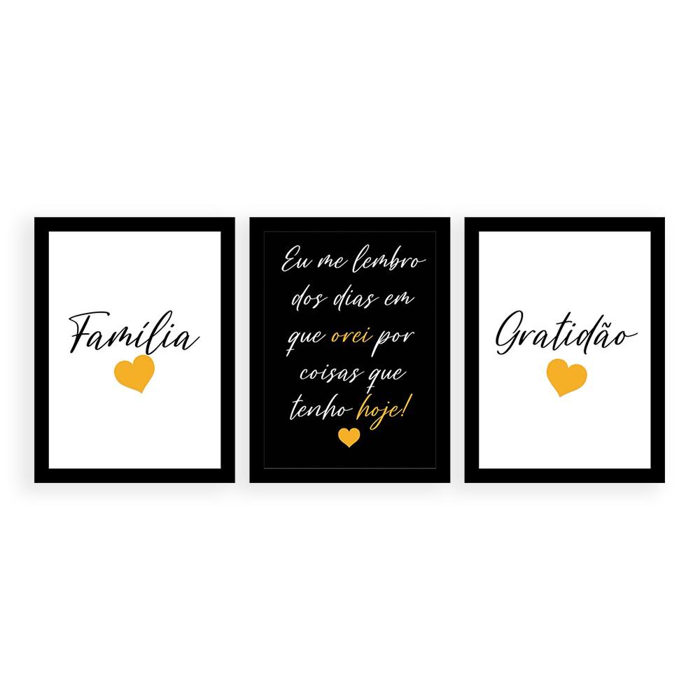 Kit 3 Quadros Decorativos Família Gratidão Amarelo Moldura