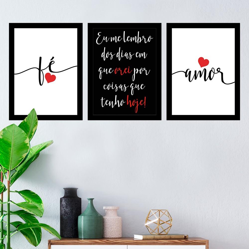 Kit 3 Quadros Decorativos Fé e Amor