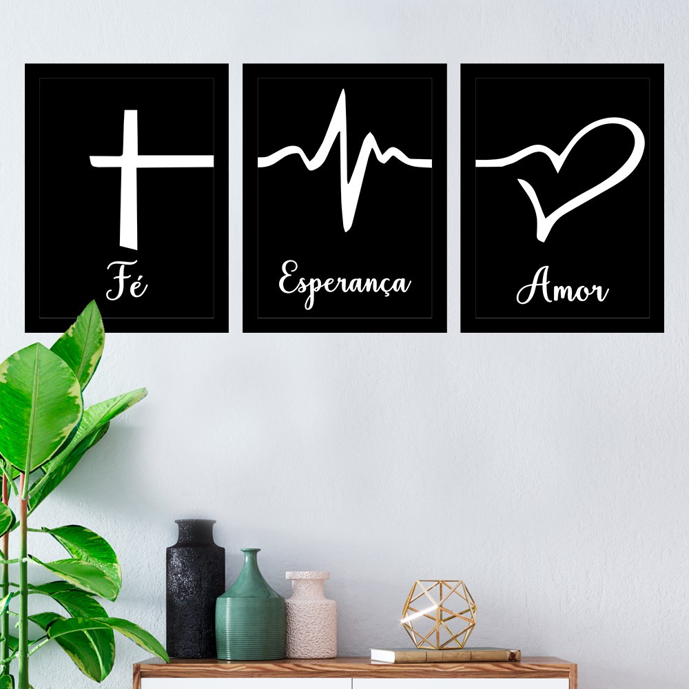 Kit 3 Quadros Decorativos Fé-Esperança-Amor-Preto