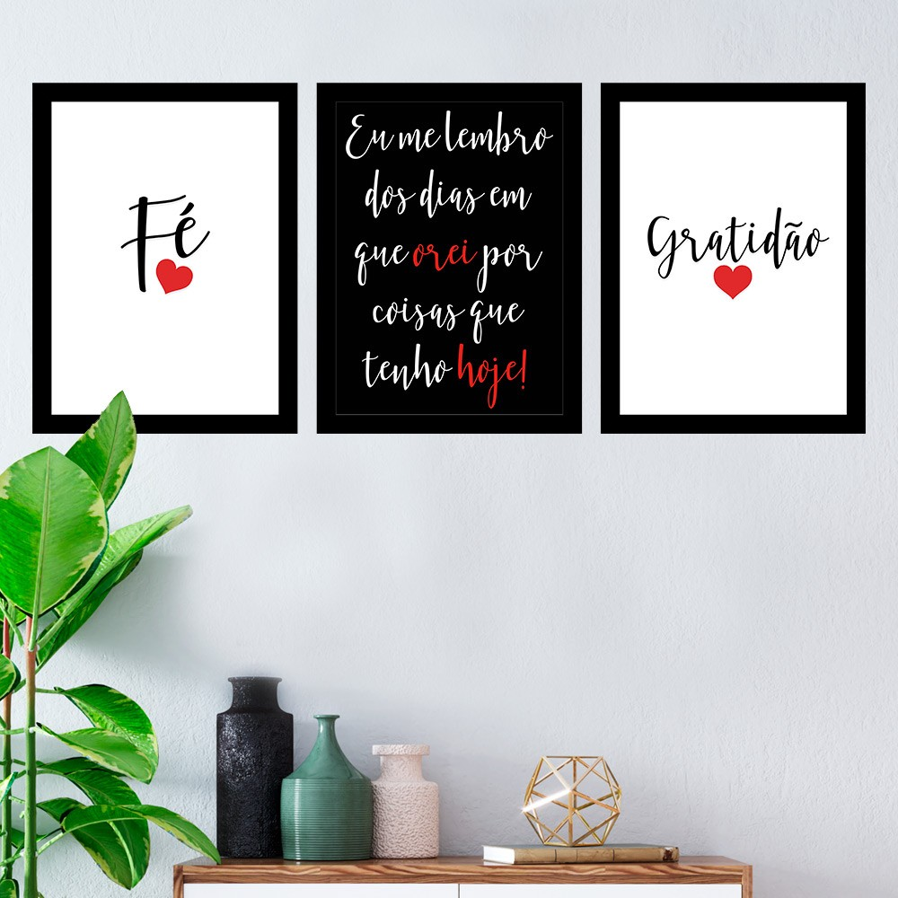 Kit 3 Quadros Decorativos Fé Gratidão Com Moldura