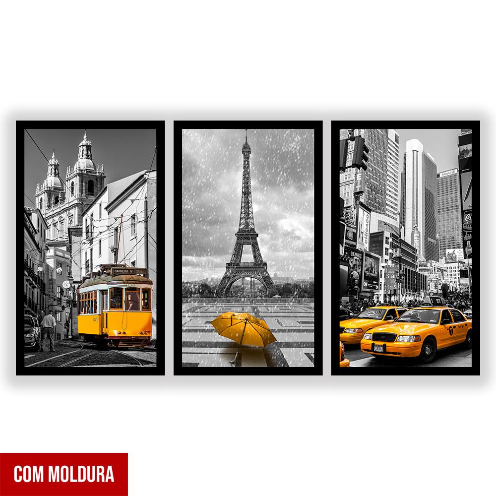 Kit  3 Quadros Decorativos Grandes Cidades Amarelo