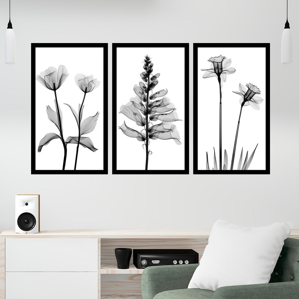 Kit 3 Quadros Decorativos Grandes Flores Minimalistas Preto e Branco Árvore Folhagens