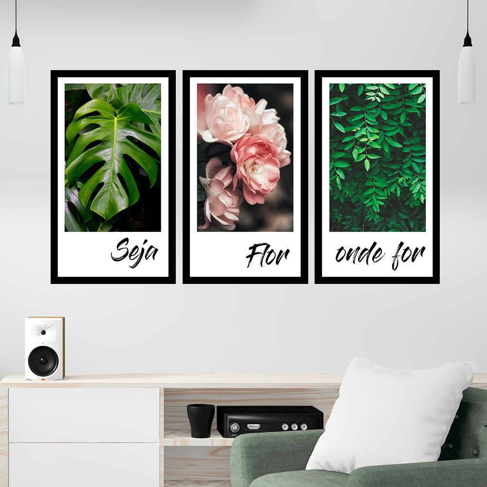 Kit  3 Quadros Decorativos Grandes Frases Flor Folhagem