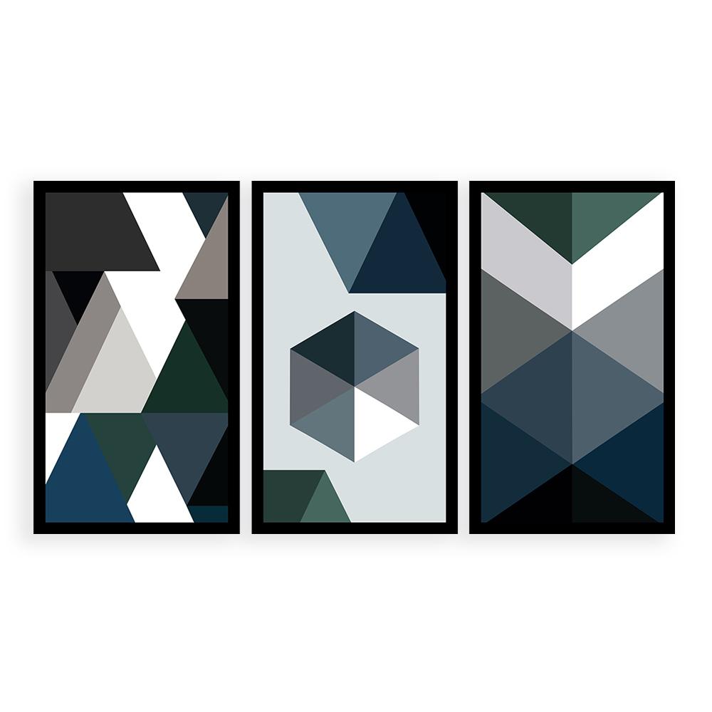 Kit  3 Quadros Decorativos Grandes Geométrico