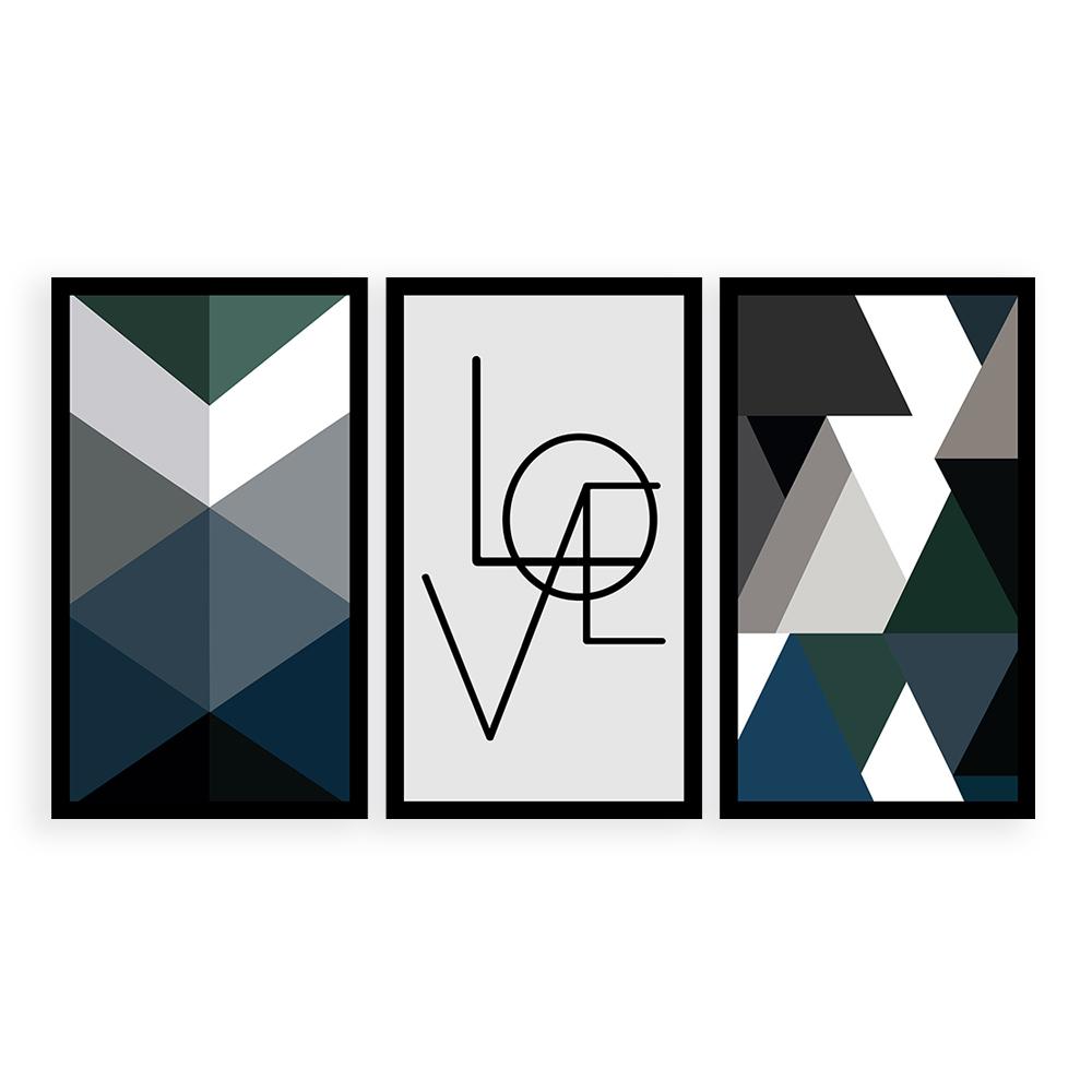 Kit  3 Quadros Decorativos Grandes Geométrico Love Azul