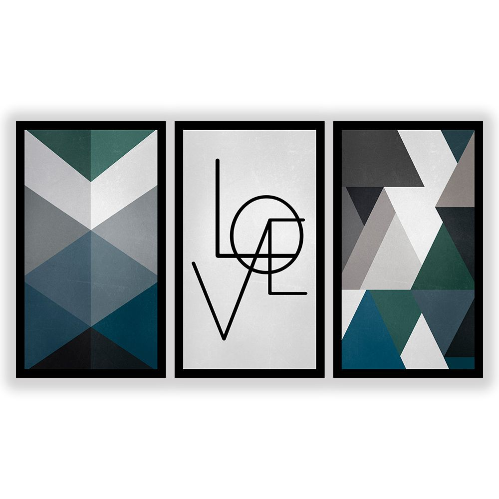 Kit  3 Quadros Decorativos Grandes Geométrico Love Azul