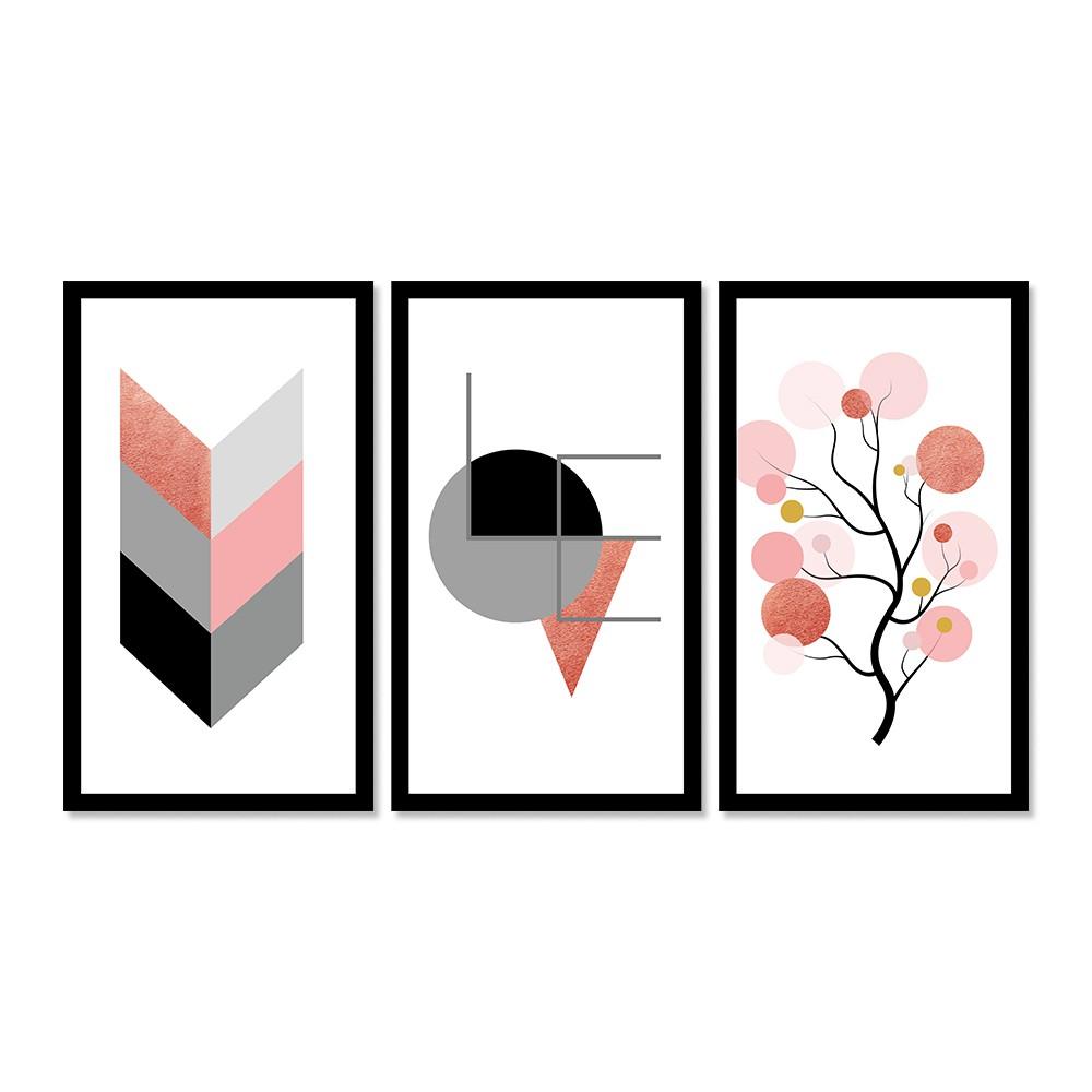 Kit 3 Quadros Decorativos Grandes Geométrico Rosé Gratidão Love Árvore