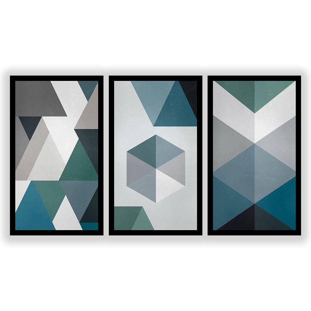 Kit  3 Quadros Decorativos Grandes Geométrico Tons de Azul