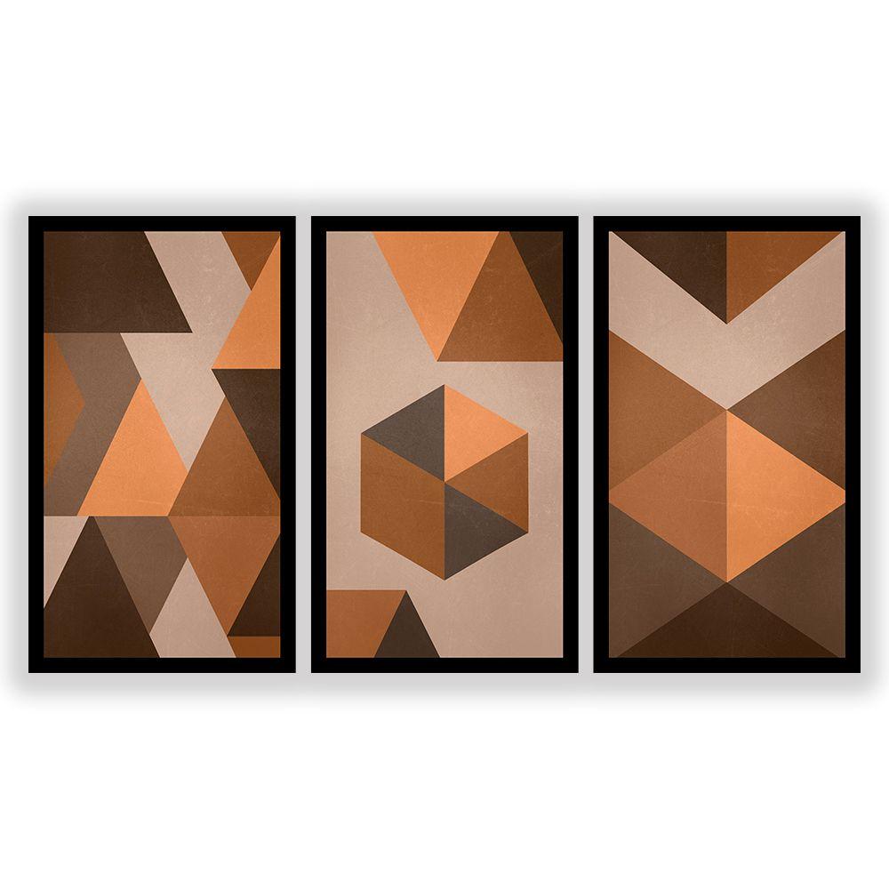 Kit  3 Quadros Decorativos Grandes Geométrico Tons de Marrom