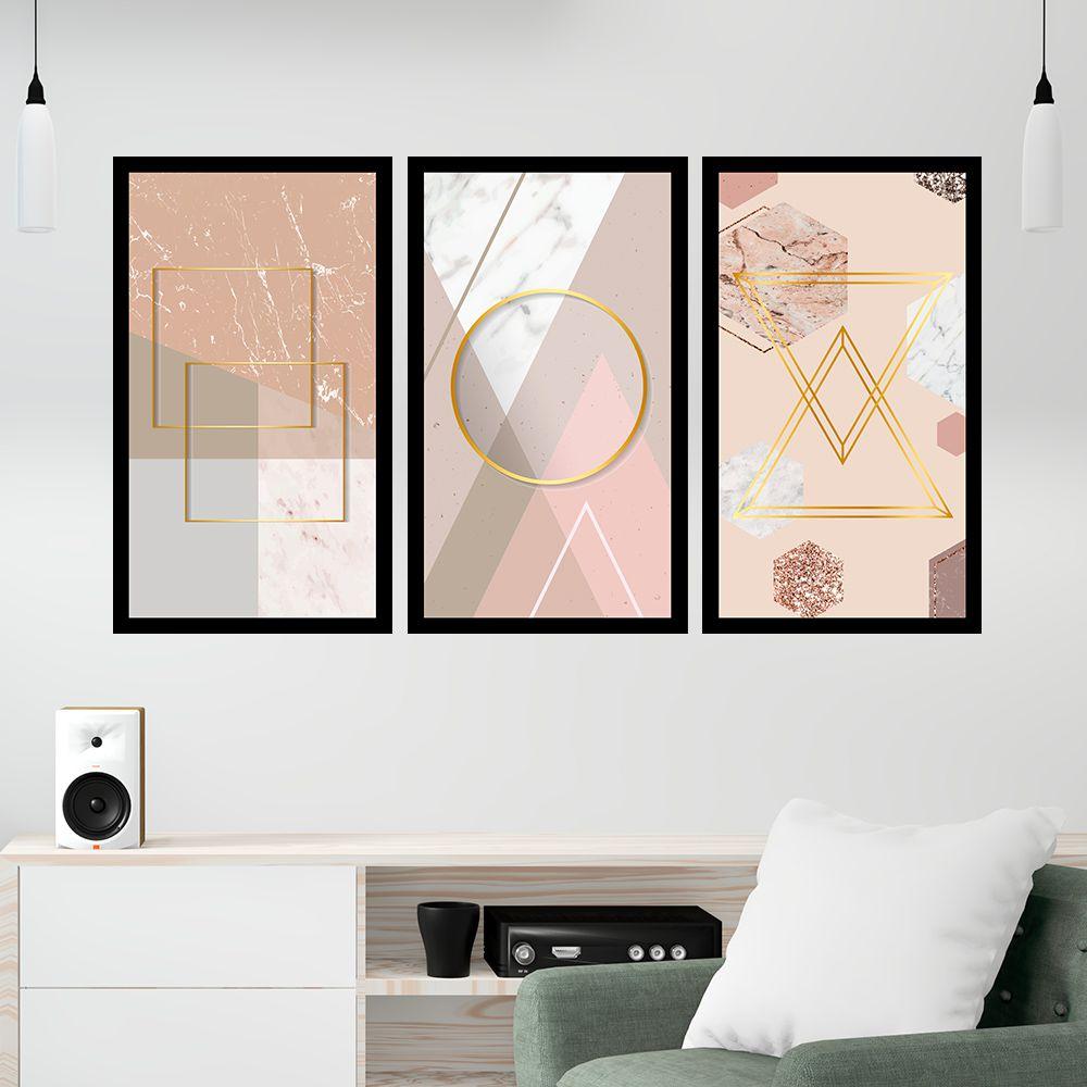 Kit  3 Quadros Decorativos Grandes Geométrico Tons Pastéis