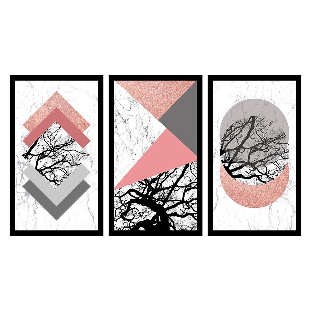 Kit 3 Quadros Decorativos Grandes Geométricos c / Galhos Secos Rosa