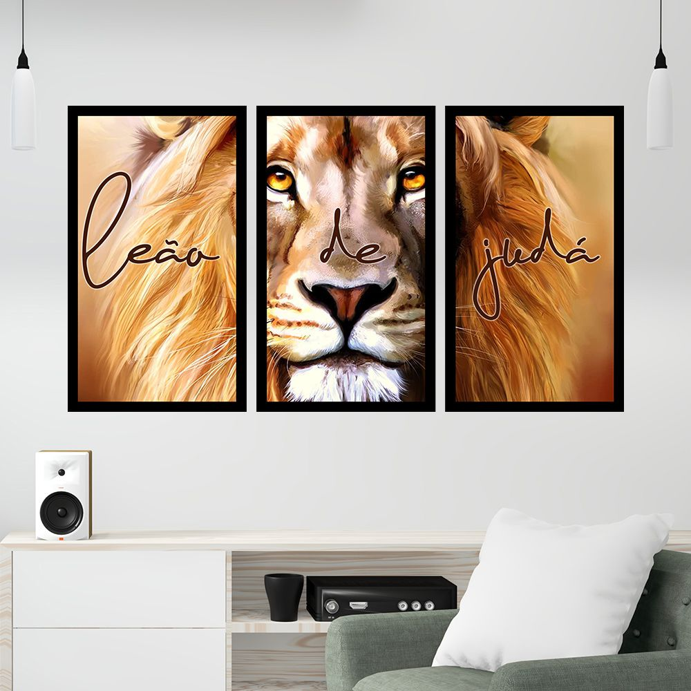 Kit 3 Quadros Decorativos Grandes Leão de Judá Pintura