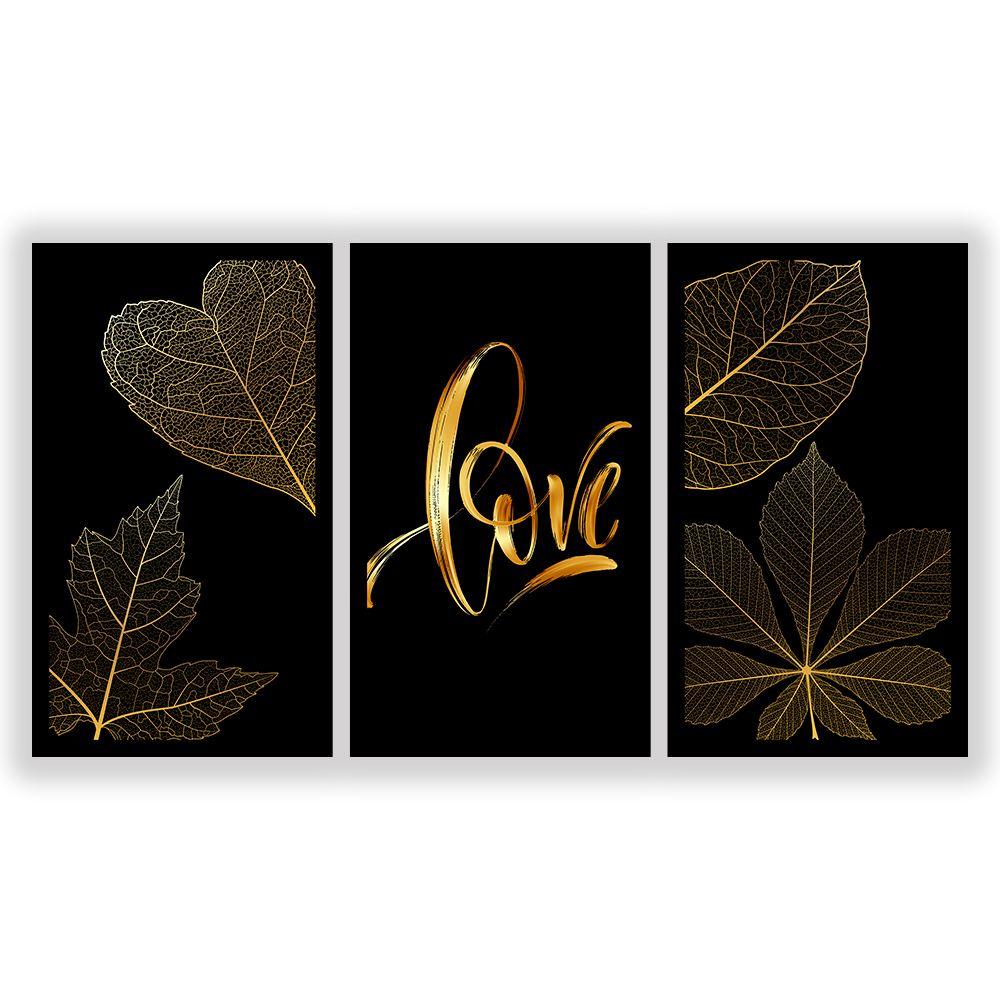 Kit  3 Quadros Decorativos Grandes Love Dourado Frases