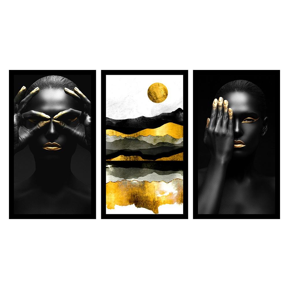 Kit 3 Quadros Decorativos Grandes Mulheres Negras c / Pintura Dourada