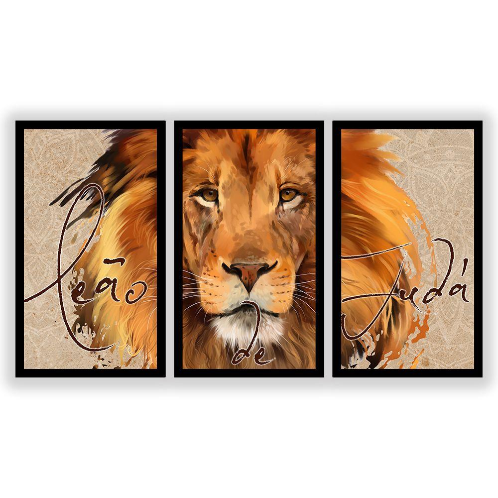 Kit 3 Quadros Decorativos Grandes Pintura Leão de Judá