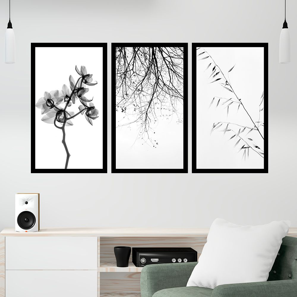Kit  3 Quadros Decorativos Grandes Preto e Branco Flores