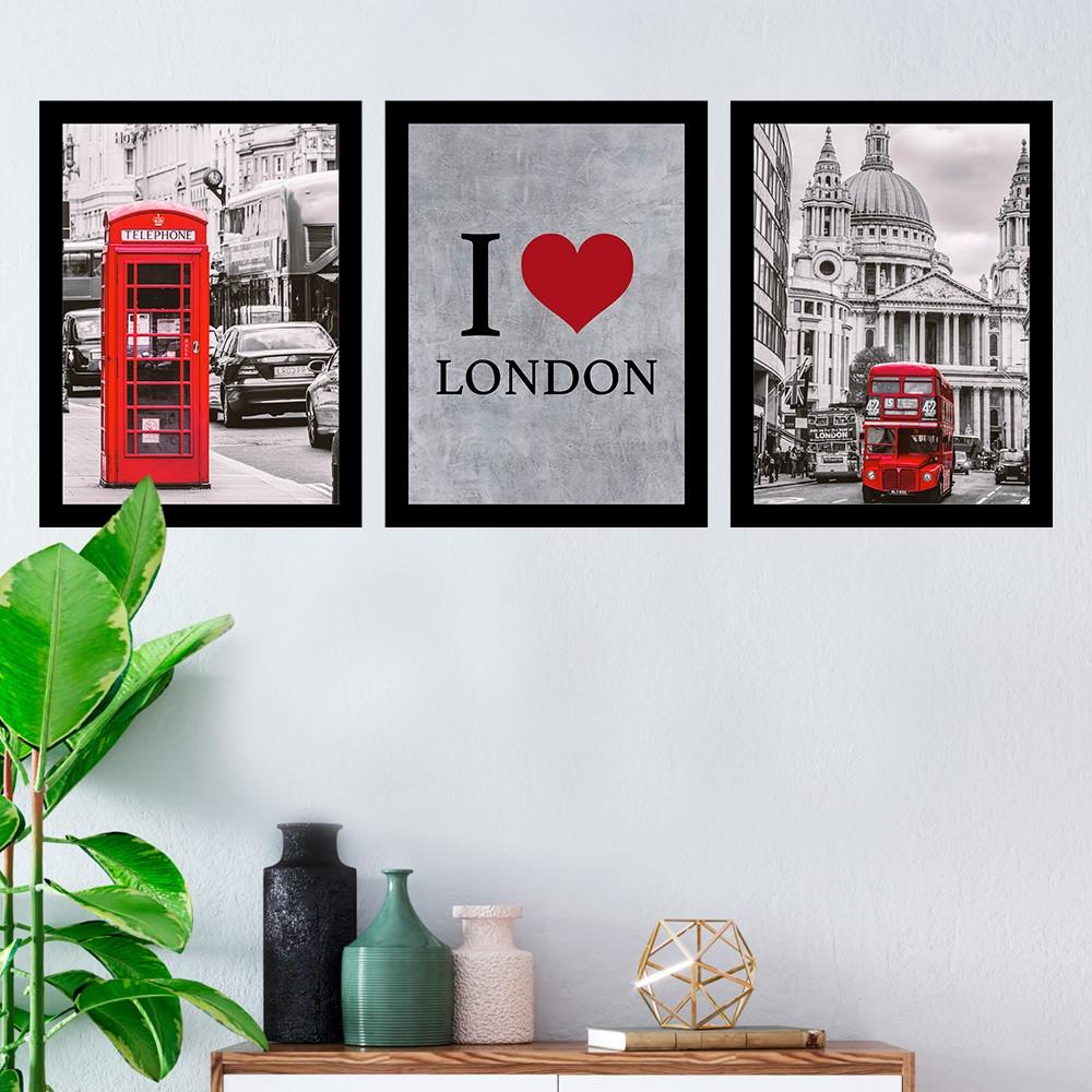 Kit 3 Quadros Decorativos I Love London