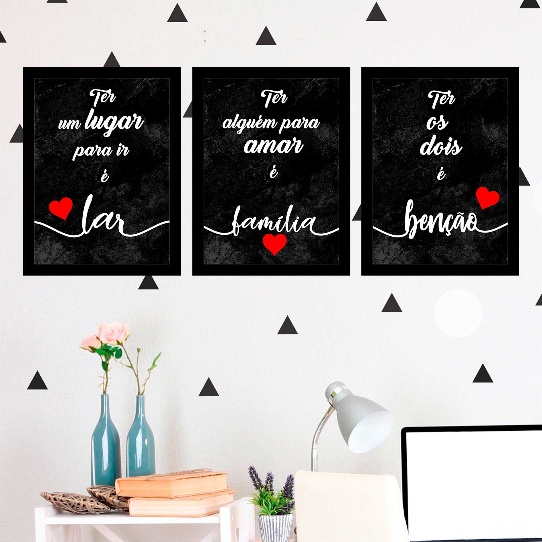 Kit 3 Quadros Decorativos Lar/ Família/ Benção Fundo Preto