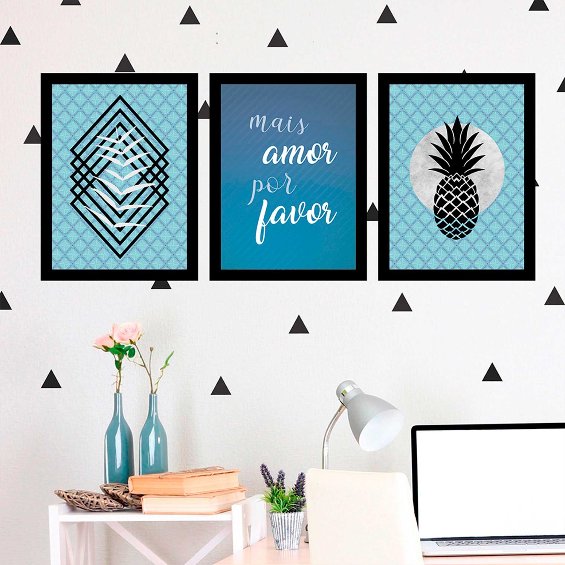 Kit 3 Quadros Decorativos Mais Amor Por Favor