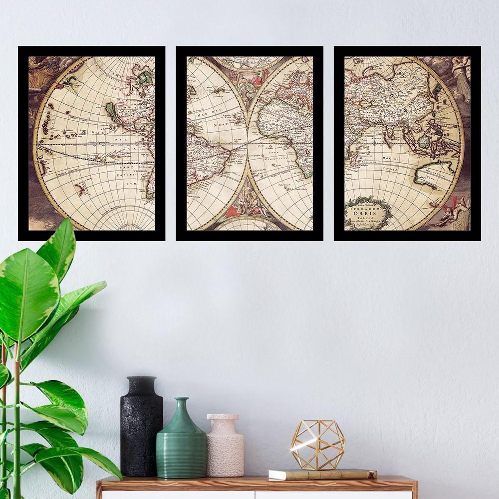 Kit 3 Quadros Decorativos Mapa Mundi Antigo