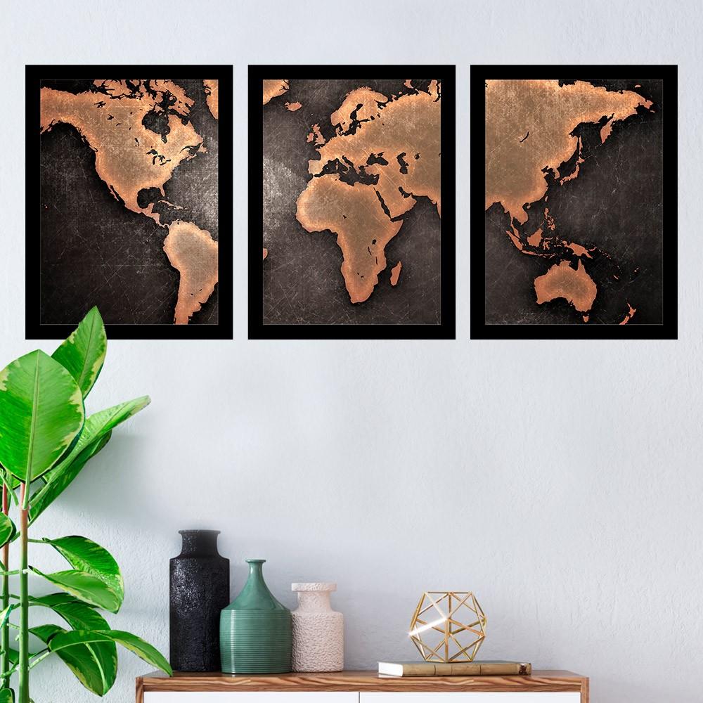 Kit 3 Quadros Decorativos Mapa Mundi Preto e Laranja