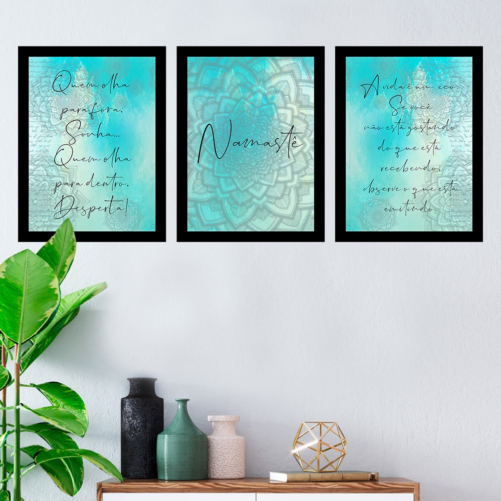 Kit 3 Quadros Decorativos Namaste