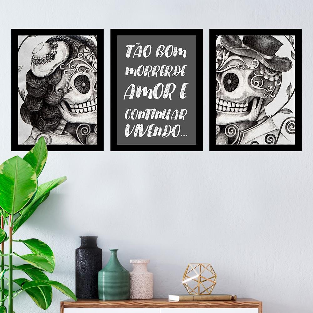 Kit 3 Quadros Decorativos Tão Bom Morrer De Amor