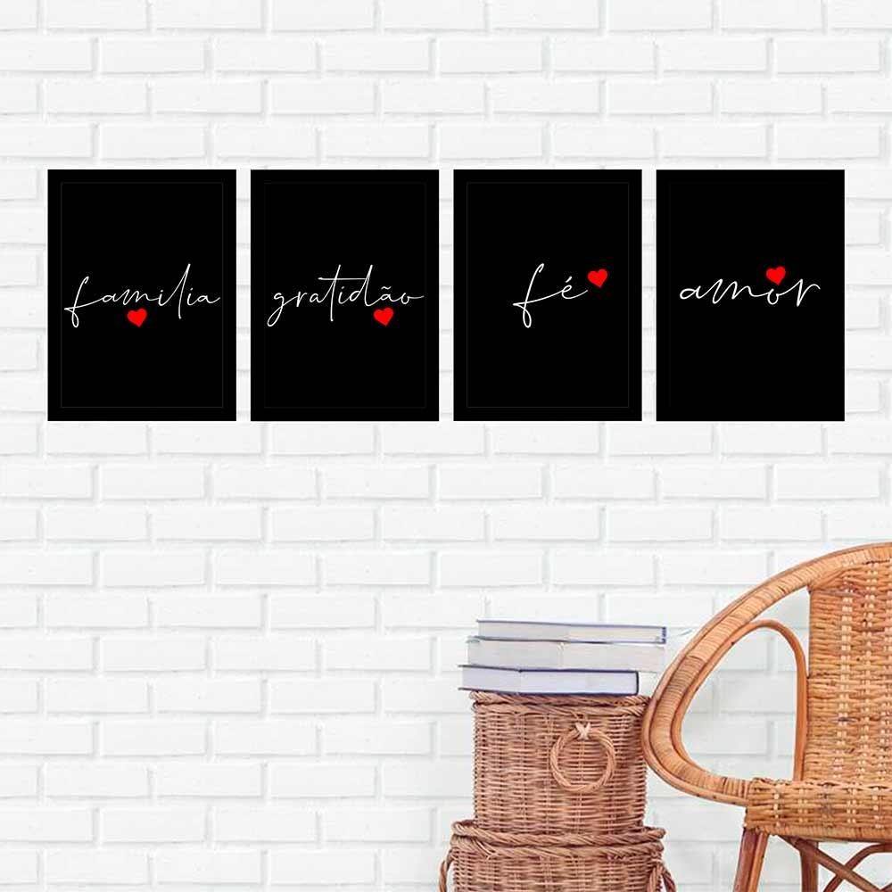 Kit 4 Quadros 27x36 Família-Gratidão-Fé-Amor