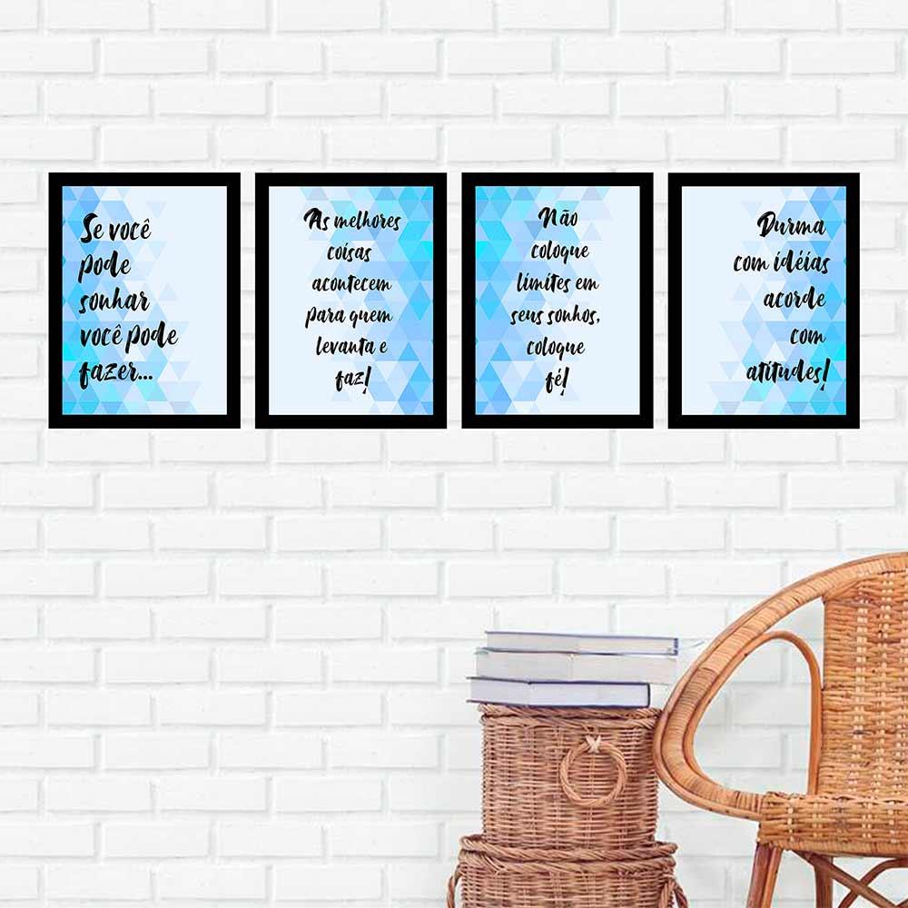 Kit 4 Quadros 27x36 Se Você Pode Sonhar Você Pode Fazer