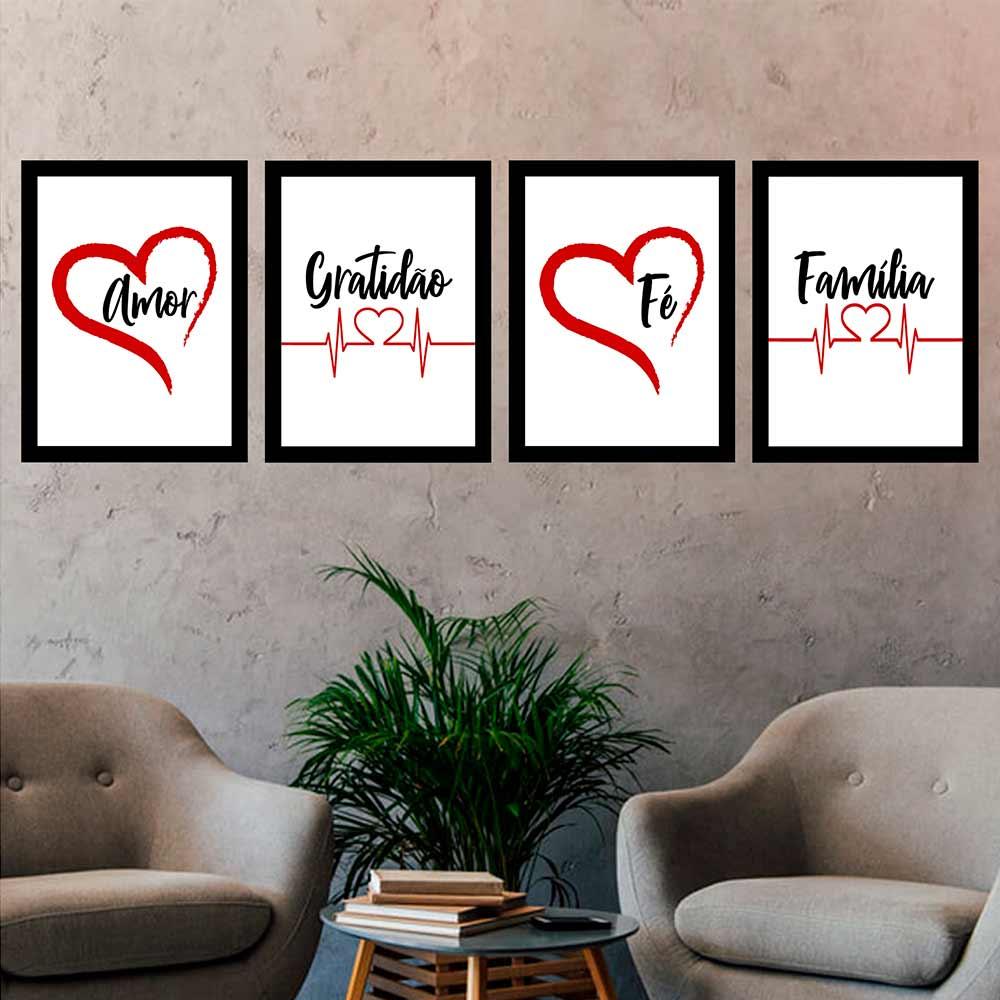 Kit 4 Quadros 33x43 Amor-Gratidão-Fé-Família