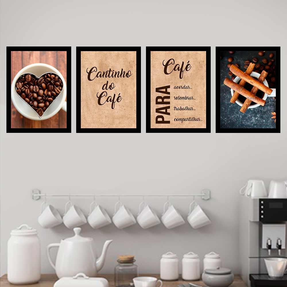 Kit 4 Quadros 33x43 Café para Acordar