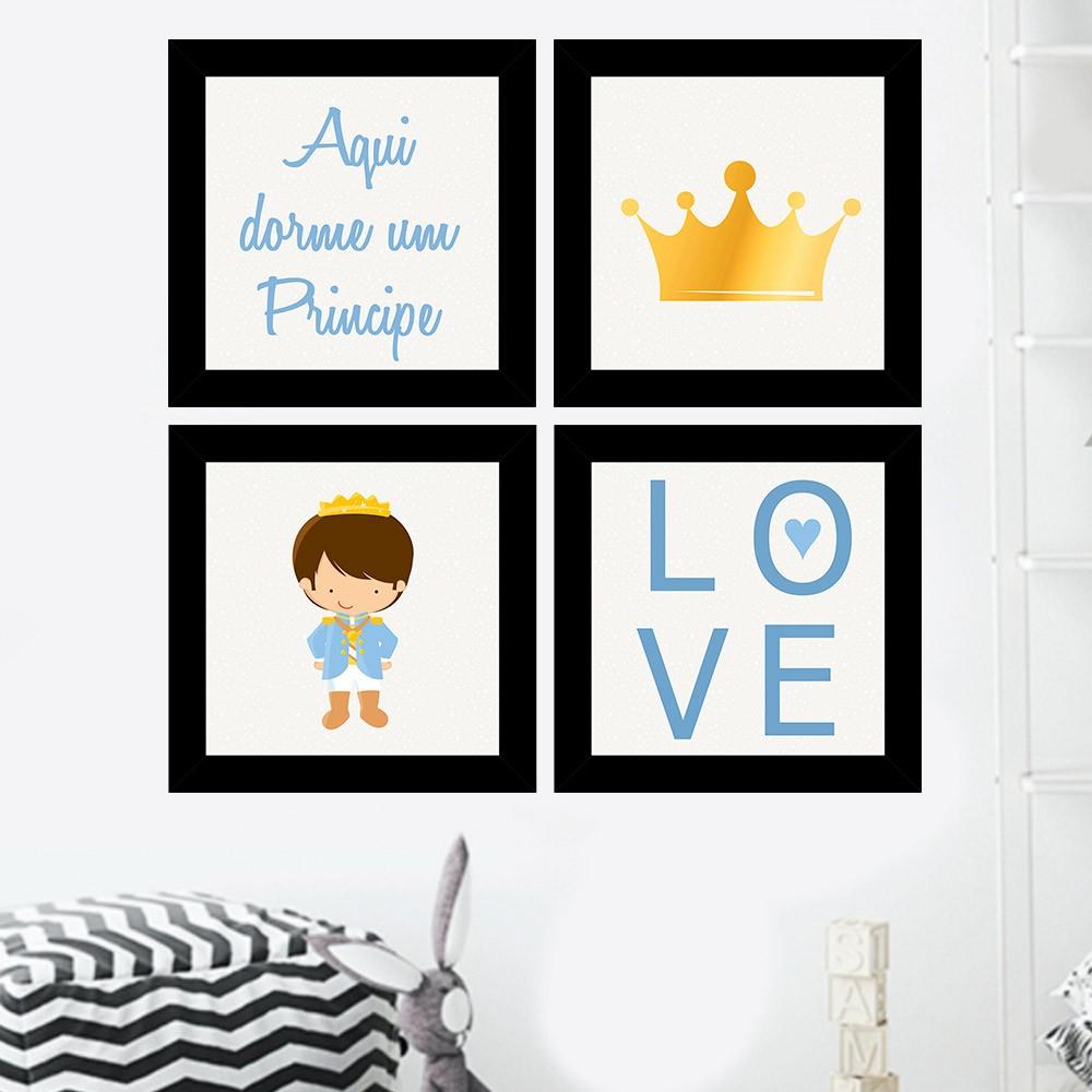 Kit 4 Quadros Decorativos Composê Aqui Dorme Um Príncipe