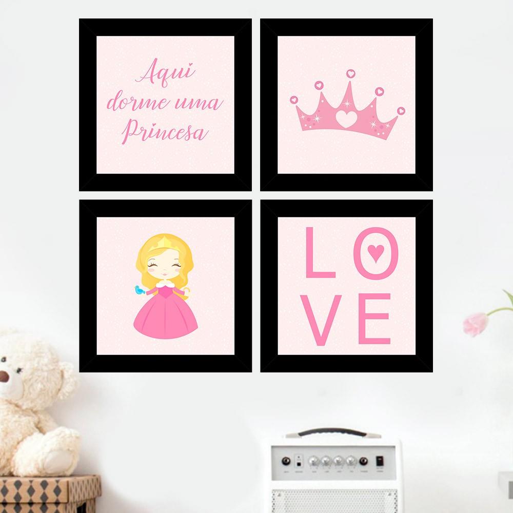 Kit 4 Quadros Decorativos Composê Aqui Dorme Uma Princesa