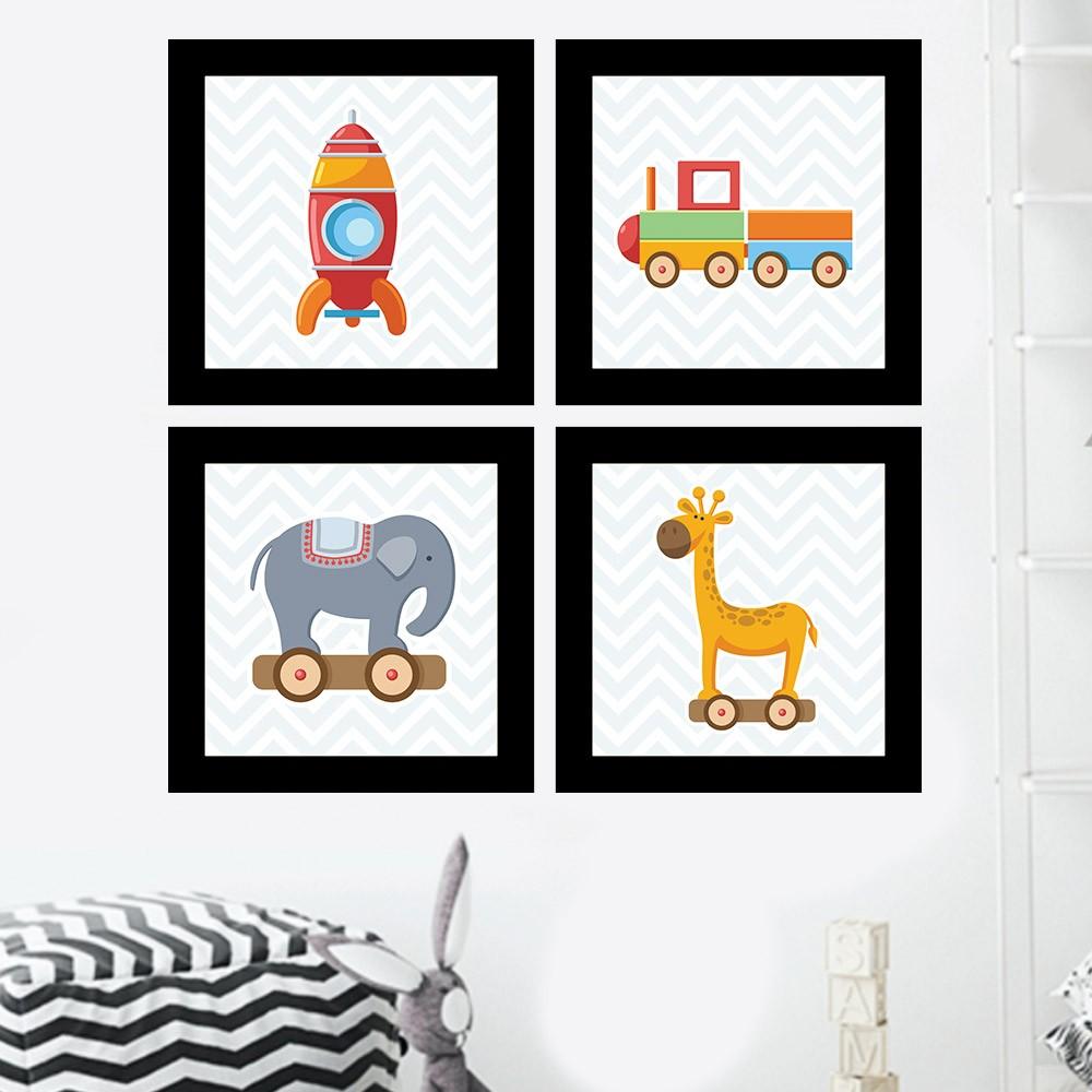 Kit 4 Quadros Decorativos Composê Brinquedos de Criança