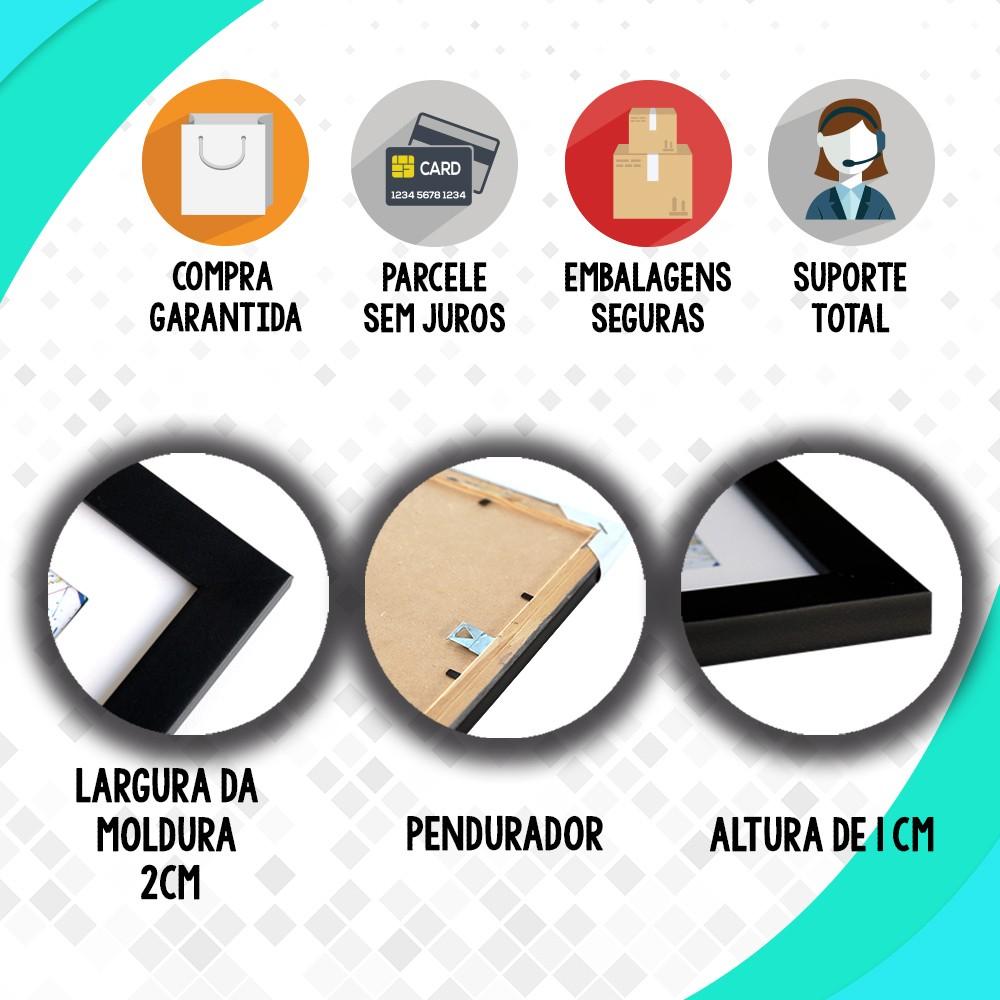 Kit 4 Quadros Decorativos Composê #foco Força Fé