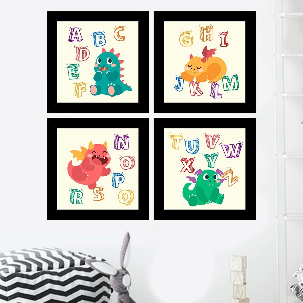 Kit 4 Quadros Decorativos Composê Infantil Alfabeto Dinossauro