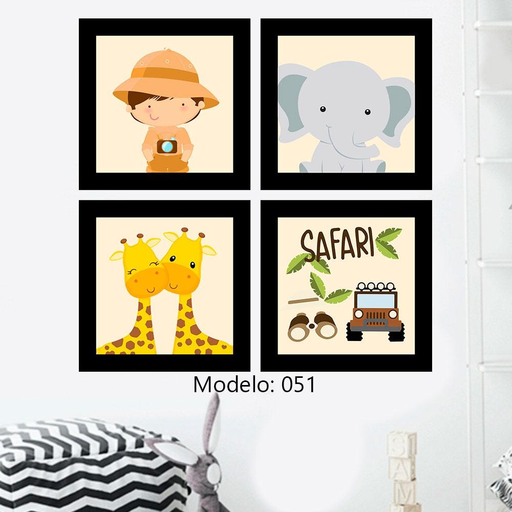 Kit 4 Quadros Decorativos Composê Turma Do Safari