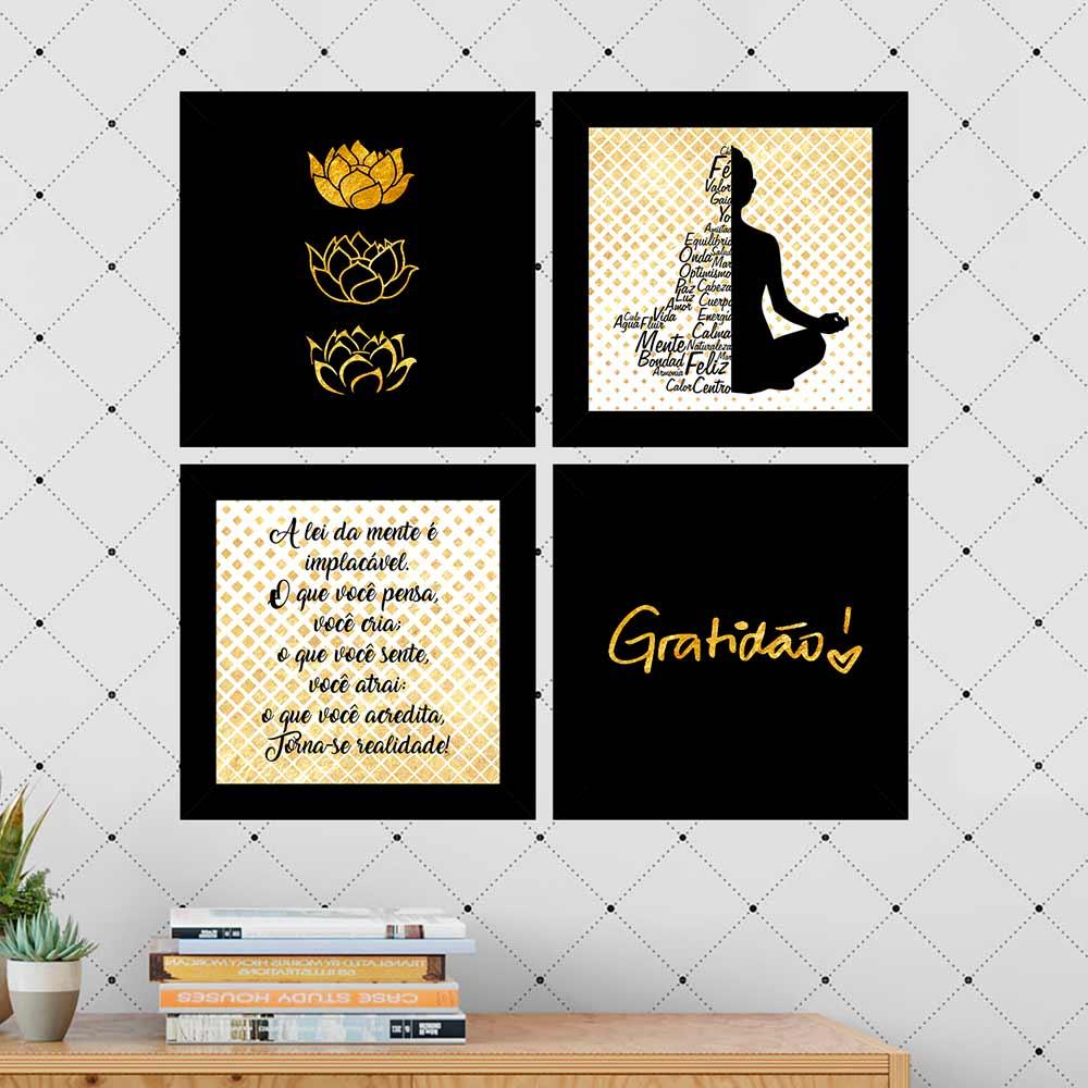 Kit 4 Quadros Decorativos Composê Budismo Gratidão