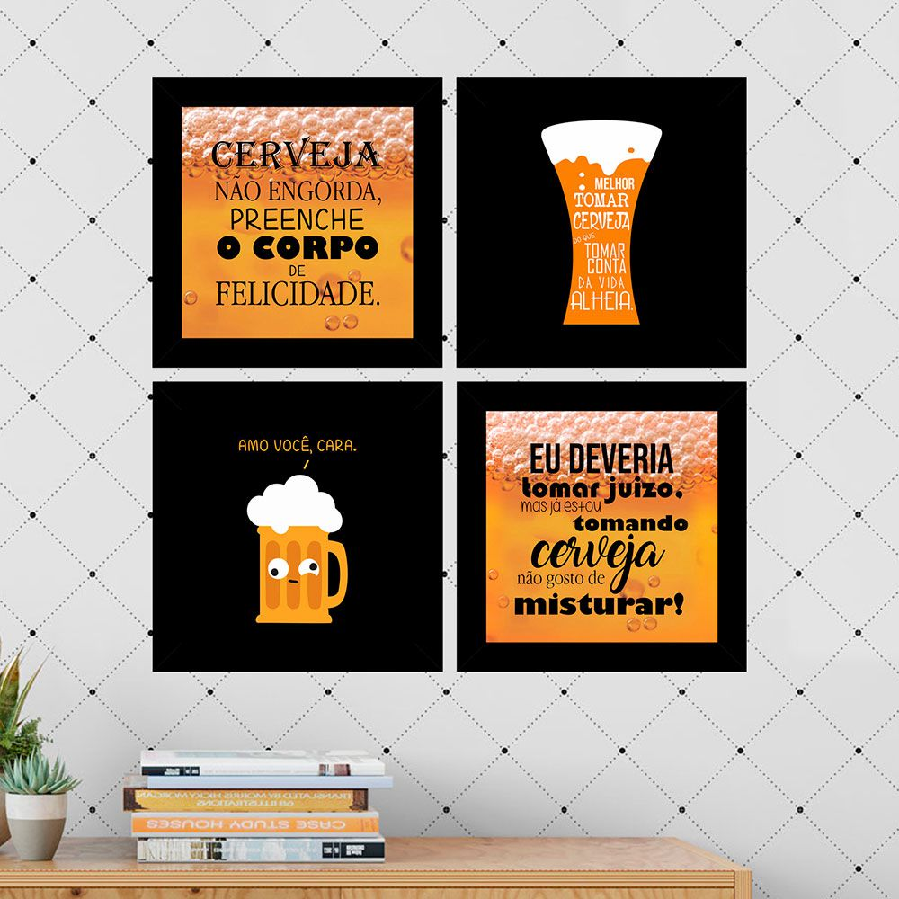 Kit 4 Quadros Decorativos Composê Cerveja Não Engorda...