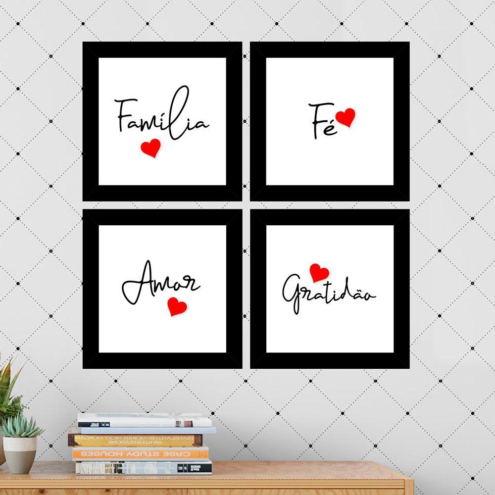 Kit 4 Quadros Decorativos Composê Família-Fé-Amor-Gratidão
