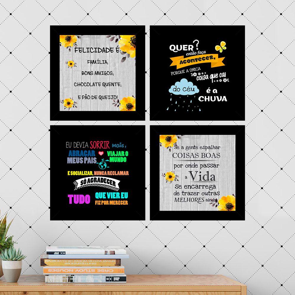 Kit 4 Quadros Decorativos Composê Frases 1