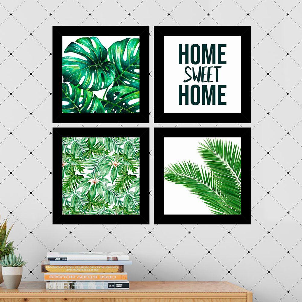 Kit 4 Quadros Decorativos Composê Home Sweet Home
