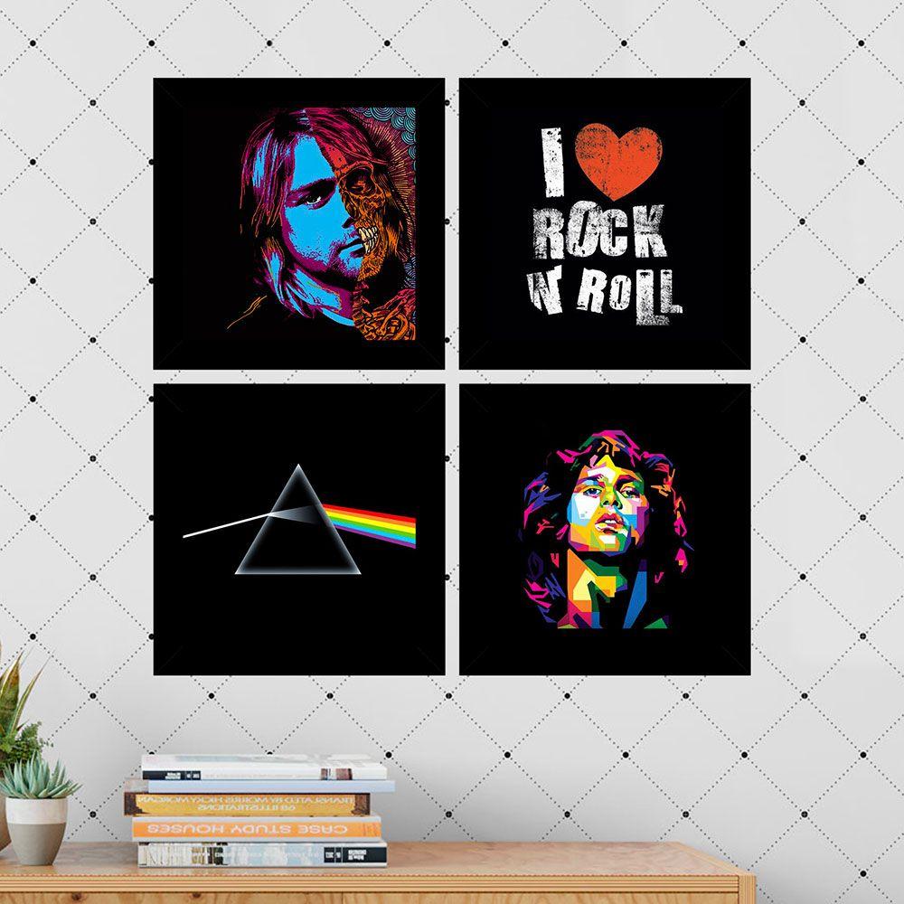 Kit 4 Quadros Decorativos Composê I Love Rock N'roll