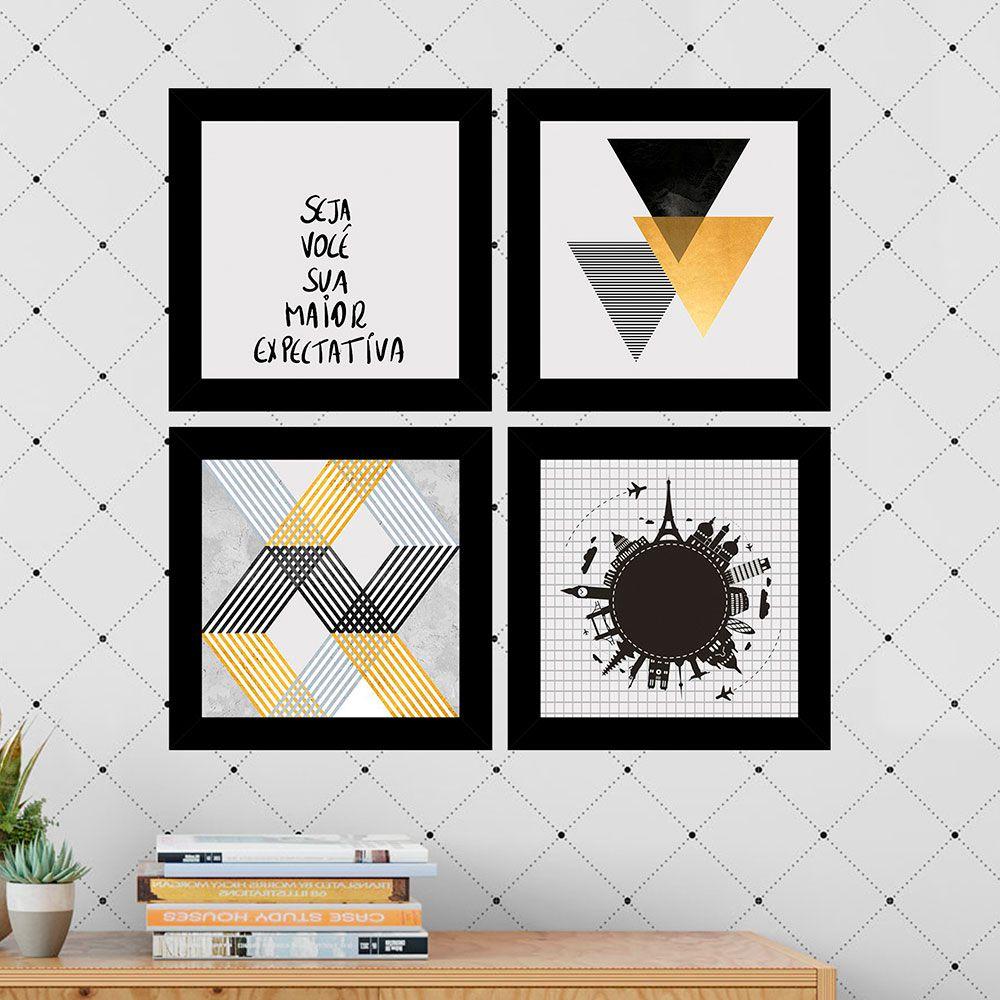 Kit 4 Quadros Decorativos Composê Seja Você Sua Maior Expectativa