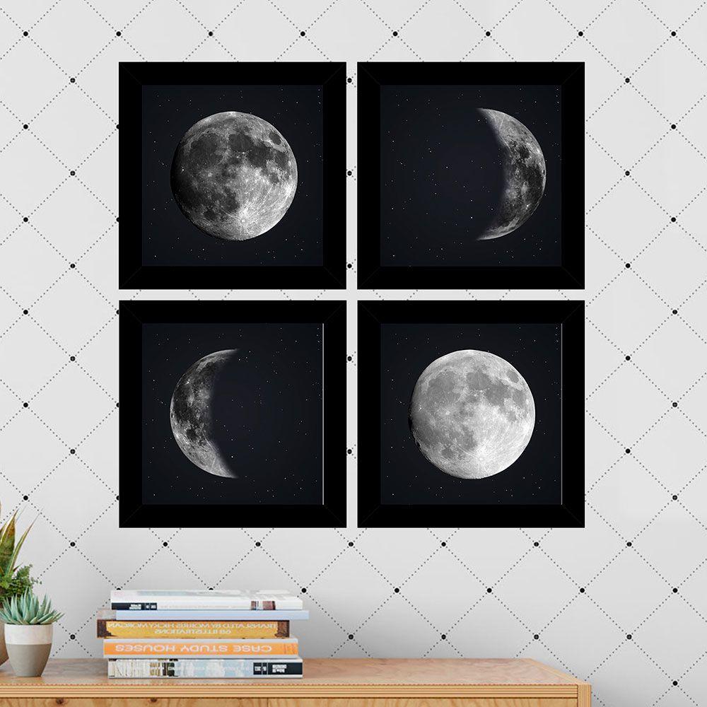 Kit 4 Quadros Decorativos Composê As 4 Fases Da Lua