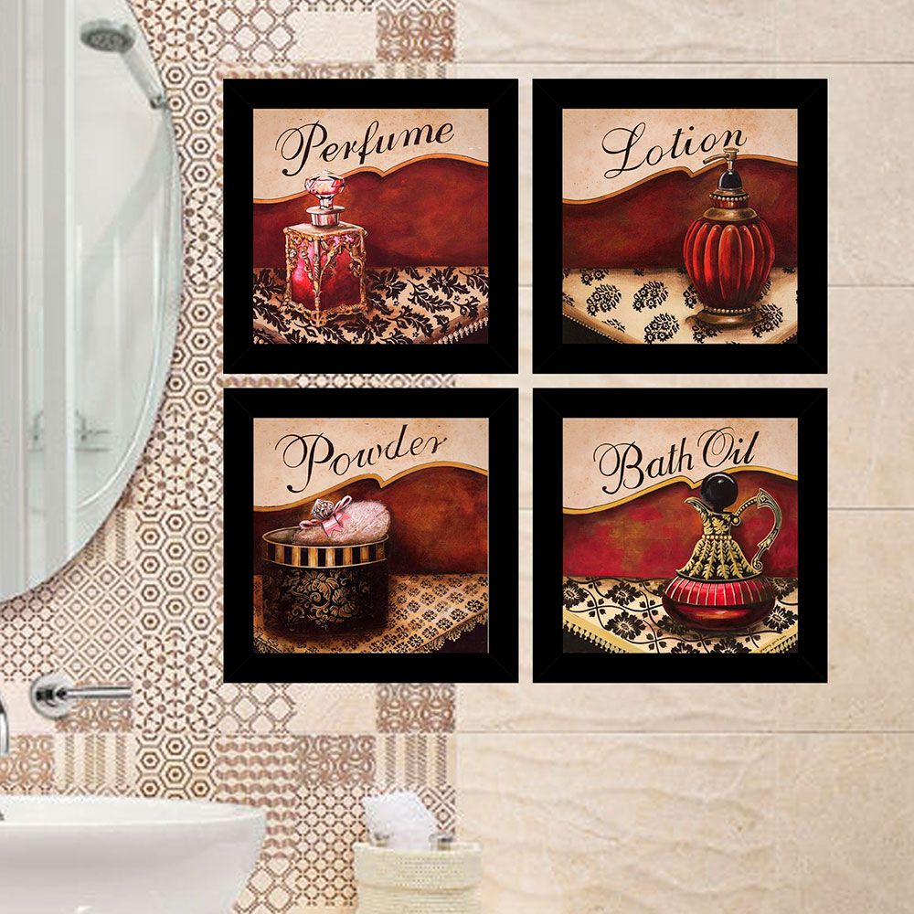 Kit 4 Quadros Decorativos Composê Banheiro Perfume
